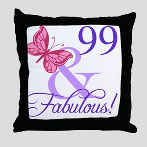 Fabulous 99th Birthday Throw Pillow