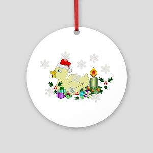 Yellow Christmas Duck Ornament (Round)
