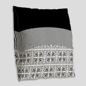 Black on Black Burlap Throw Pillow