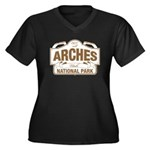Arches Natio Women's Plus Size V-Neck Dark T-Shirt