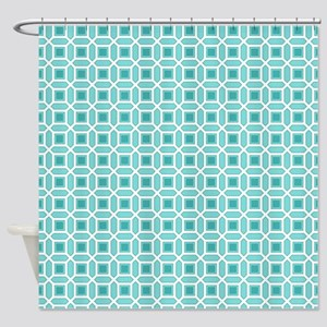 Blue and White Mosaic Pattern Shower Curtain