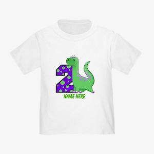 2nd Birthday Dinosaur Custom Toddler T-Shirt