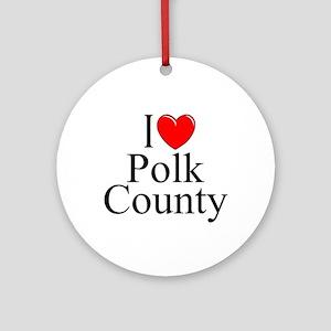 """I Love Polk County"" Ornament (Round)"