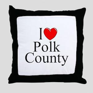 """I Love Polk County"" Throw Pillow"
