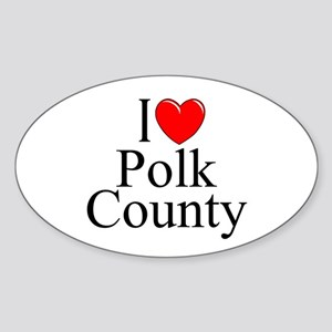"""I Love Polk County"" Oval Sticker"