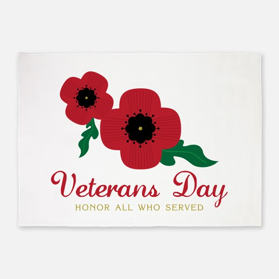 Veterans Day Honor Flowers 5'x7'Area Rug