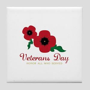Veterans Day Honor Flowers Tile Coaster
