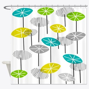 Mid-Century Modern Seed Pods Shower Curtain