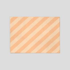 Pastel Melon Diagonal Stripes 5'x7'Area Rug