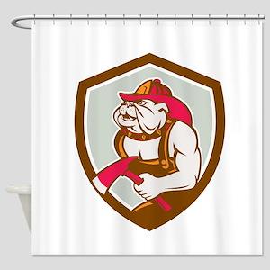 Bulldog Fireman With Axe Shield Retro Shower Curta