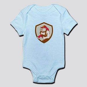Bulldog Fireman With Axe Shield Retro Body Suit