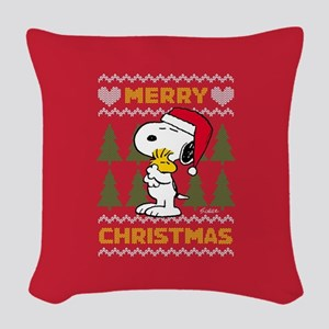 Snoopy Merry Woven Throw Pillow