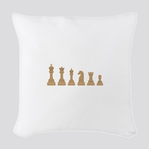 Chess Pieces Woven Throw Pillow