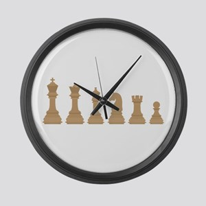 Chess Pieces Large Wall Clock