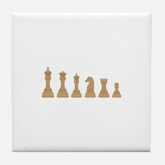 Chess Pieces Tile Coaster