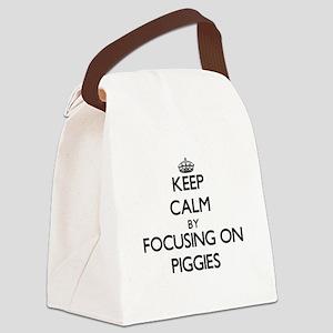 Keep Calm by focusing on Piggies Canvas Lunch Bag