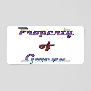 Property Of Gwenn Female Aluminum License Plate