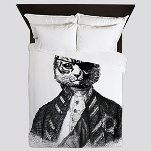Vintage Pirate Cat Queen Duvet