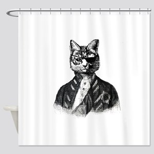 Vintage Pirate Cat Shower Curtain