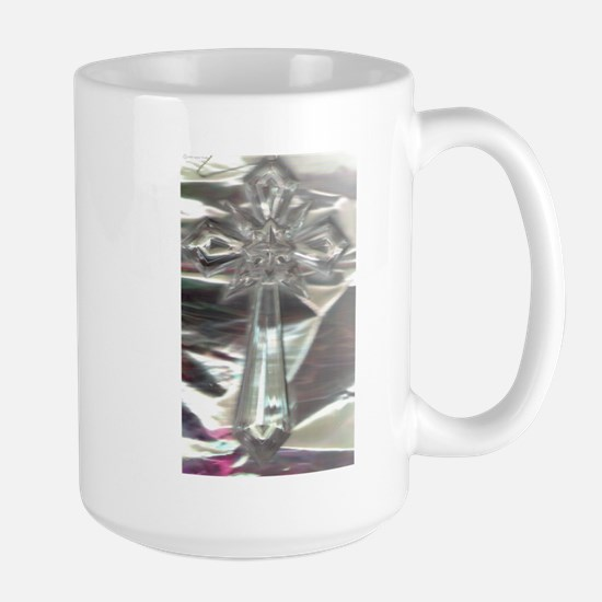Cross/Clear/Opaque Pearl Background/Large Mug
