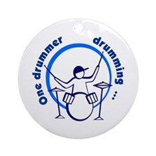 Drummer Drumming Ornament (Round)