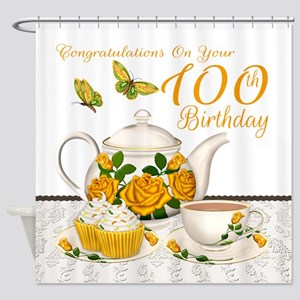 Yellow Rose Tea Set 100th Birthday Shower Curtain