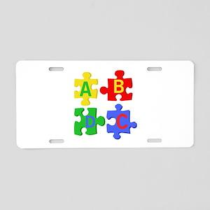 Puzzle Letters Aluminum License Plate
