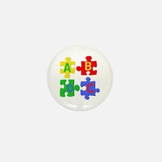 Puzzle Letters Mini Button