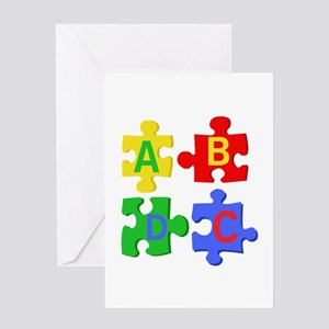Puzzle Letters Greeting Cards