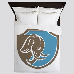 Angry Elephant Head Side Shield Retro Queen Duvet