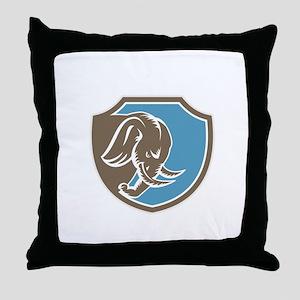 Angry Elephant Head Side Shield Retro Throw Pillow