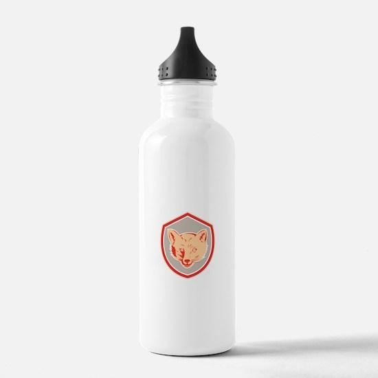 Red Fox Head Front Shield Retro Water Bottle