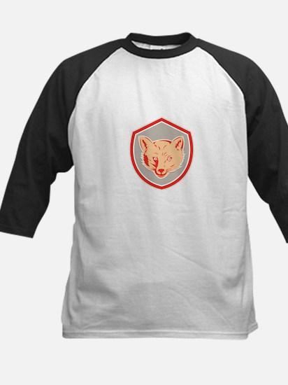 Red Fox Head Front Shield Retro Baseball Jersey