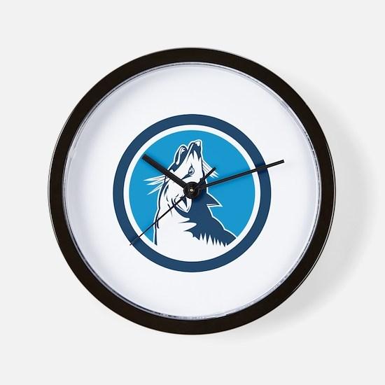 Red Fox Head Howling Circle Retro Wall Clock