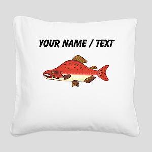 Custom Pink Salmon Square Canvas Pillow