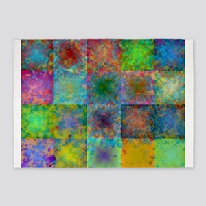 Colorful abstract squares 5'x7'Area Rug