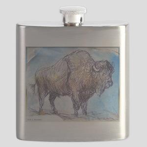 American Buffalo, animal art Flask