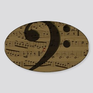Musical Bass Clef sheet music Sticker