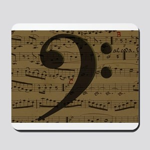 Musical Bass Clef sheet music Mousepad