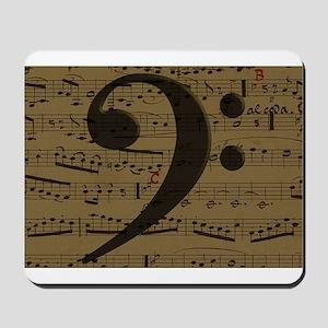 Musical Bass Clef sheet music Mousepad