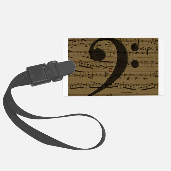 Musical Bass Clef sheet music Luggage Tag