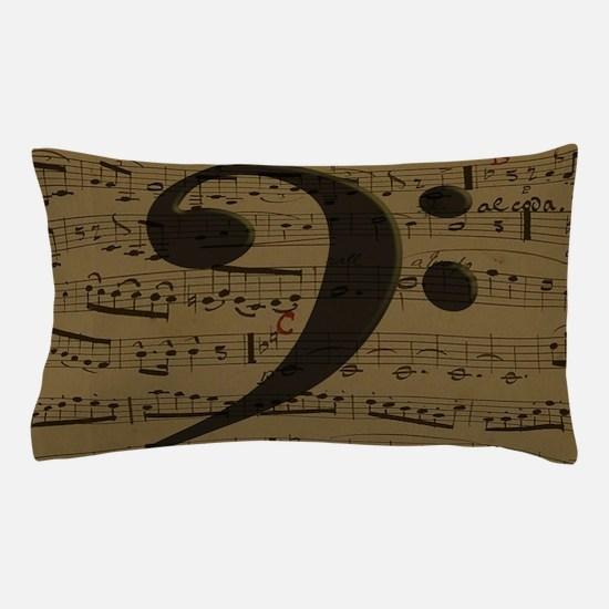 Musical Bass Clef sheet music Pillow Case
