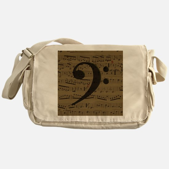 Musical Bass Clef sheet music Messenger Bag