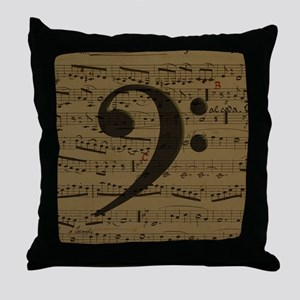 Musical Bass Clef sheet music Throw Pillow