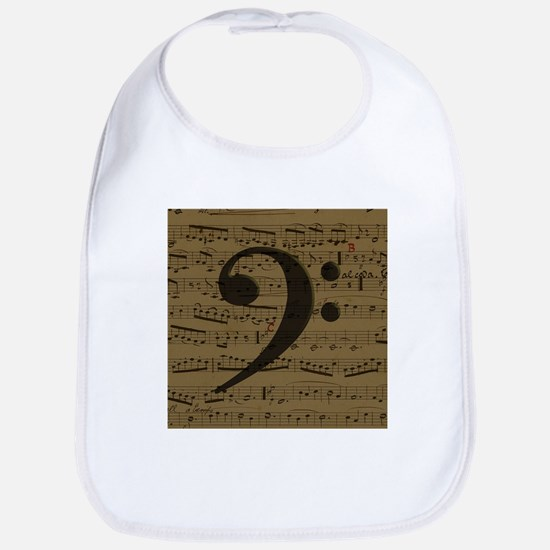 Musical Bass Clef sheet music Bib