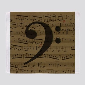 Musical Bass Clef sheet music Throw Blanket