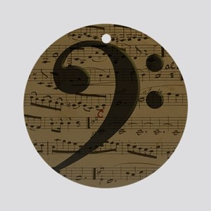 Musical Bass Clef sheet music Ornament (Round)