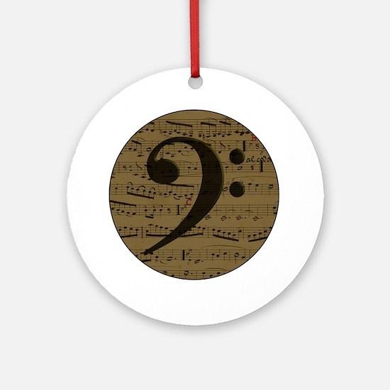 Musical Bass Clef sheet music Ornament (Round)