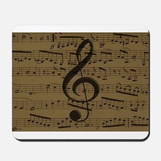 Musical Treble Clef sheet music Mousepad