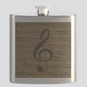 Musical Treble Clef sheet music Flask